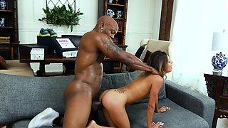 Skinny Latina blows and rides huge black phallus