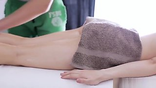 Skinny blonde babe gets her pussy massage and takes in that cock!