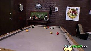 Midget slutty while playing pool