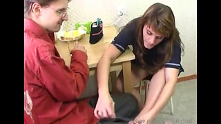 Mom seduces son with her feet -