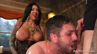 Mistress Lily Lane pegs guy in bi trio