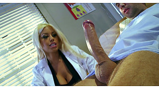 Ebony porn star Bridgette B sucks huge dick of her patient