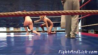 European dykes wrestling on the floor