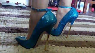 Women Wearing Blue 17cm High Heels Stiletto Shoes Walking