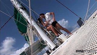 Busty suntanned beauty Roberta Gemma gets fucked on the boat