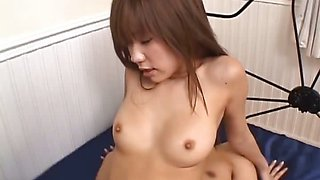 Asian schoolgirl cums hard during a hot threesome