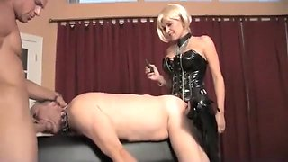Beautiful Mistress and her bisexual slaves