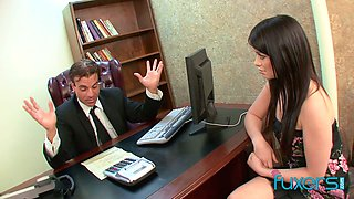 Lusty leggy nympho pays attorney back by sucking his dick in 69 pose
