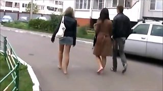 Walk barefoot Russian girls