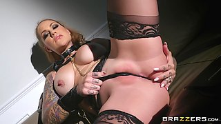 Leather fetish threesome with Ivy Lebelle and Karmen Karma