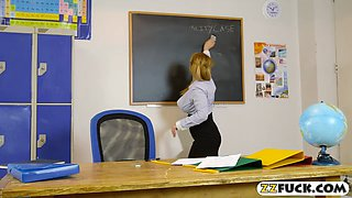 Stunning teacher banged by huge cock in the classroom