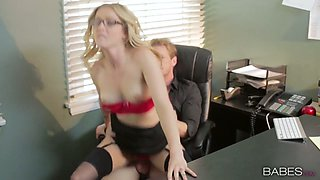 Sexy blonde secretary Karla Kush banged well by her horny boss