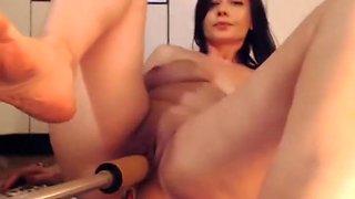 Bitch playing with fucking machine