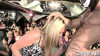 Harlots engulfing in strip club