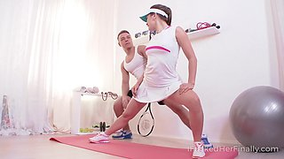 Playing tennis ends with playing penis for pretty babe in skirt Evelina Darling
