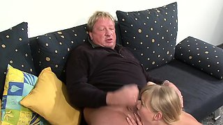 Horny blonde enjoys deepthroating hard old cock