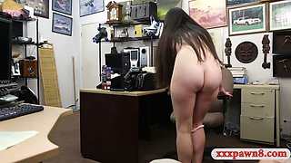 Pretty brunette gets screwed by pawn man in his office