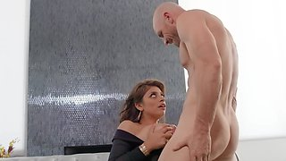 Completely awesome cutie with gorgeous breasts fools around