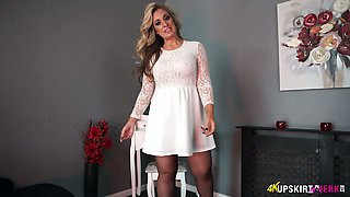 Charming blonde mommy Kellie O Brian shows what she got under her skirt