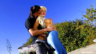 Hardcore outdoors fucking with busty blonde pornstar Stacy Silver