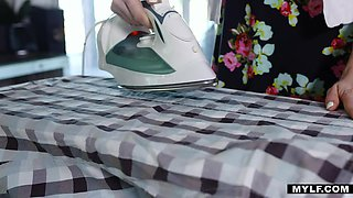 Caring stepmom prepared pussy for breakfast for her adult stepson