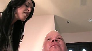 Spitting femdom. Two mistress dominate slave husband