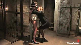Alicia Stone gets punished by Maitresse Madeline on the stairs