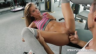 Blonde Babe Sarah Kay Gets Assfucked in the Gym
