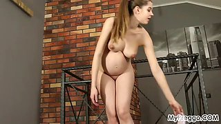 pregnant kay j works out naked