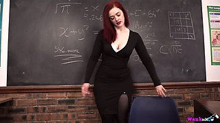 Red haired teacher Jaye Rose masturbates her pussy and plays with a suction cup dildo