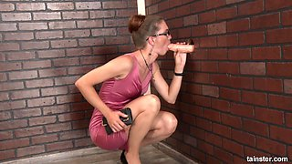 Messy session of a nerdy chick who loves the gloryhole sucking