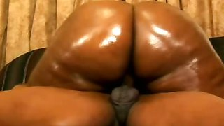 Fat Ebony Gets Oiled Up For Sex