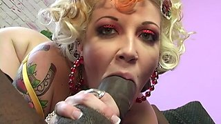 Candy Monroe chokes on a BBC in front of a kinky fellow