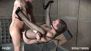 sierra cirque in her fancy stockings and sexy heels is bound and brutally fucked until squirting!