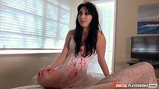 Skinny MILF bride gets her face covered in jizz