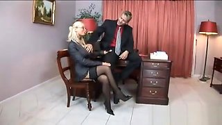 Helena White is a blonde secretary who has big fak