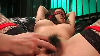 Asian slave in fishnets gets hairy cunt fingered