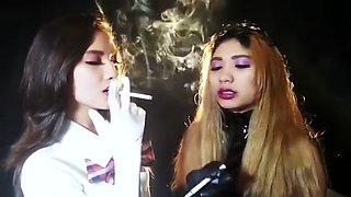 Smoking Asians Liz teaches Mara to smoke