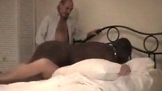 Old man watches his blonde milf cuckold wife getting fucked by a big black cock