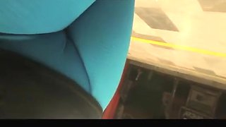 Blue leggings fat cameltoe