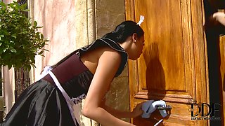 Obedient  maid is punished by  cruel mistress