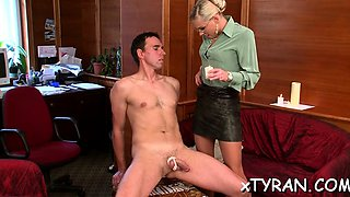Older chick gets gagged and dominated by young slut