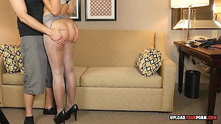 Equipped with high heels and pantyhose, she slobbered all over his raging wiener.