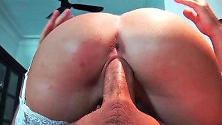 April Blue riding on fat pecker and receiving massive facial
