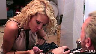 Jessica Drake fucking passionately in the office in super hot Wicked porn clip