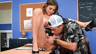 Schoolgirl and her boyfriend are having a threesome with naughty blonde professor