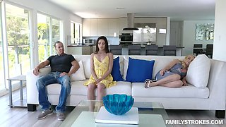 Bitchy chick Gianna Gem is fucked by step daddy in front of sleeping mom