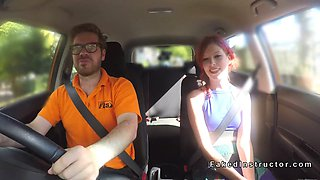 Fire redhead gets instructors dick in car