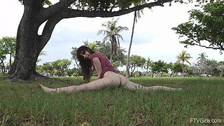 Outdoors video of Ziva flashing her pussy and asshole for the cam