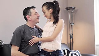 OLD4K. Tall daddy stretches good-looking brunette on...